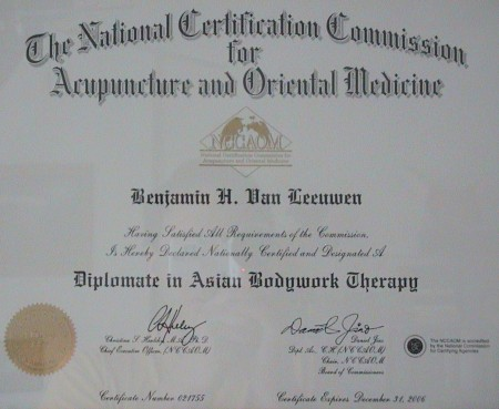 Diplomate of Asian Bodywork Therapy